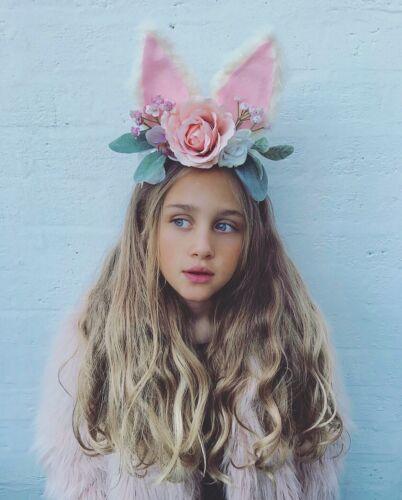 Fluffy Easter Bunny Ears Peach Flower Gypsophila Hair Head Band Choochie Choo