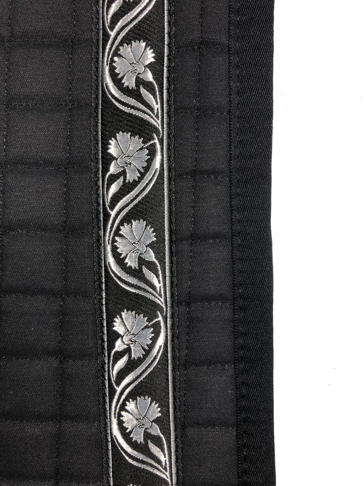 Barock Dressur Schabracke Schwarz mit Borte Silber Lammfell möglich 57 57 57 cm lang 7e453d