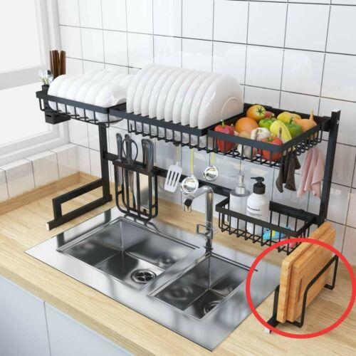 Over The Sink Dish Drying Rack Drainer Shelf Black Utensil Holder Organizer LG