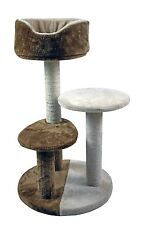 """30"""" 3-Tier Cat Tree House Condo With Cradle Perches Scratch Post and Bed (Brown)"""