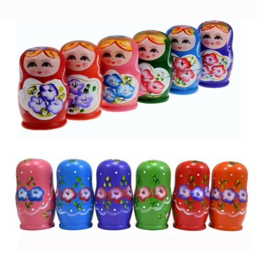 5pcs//set Wooden Hand Painted Nesting Matryoshka Russian Girl Dolls