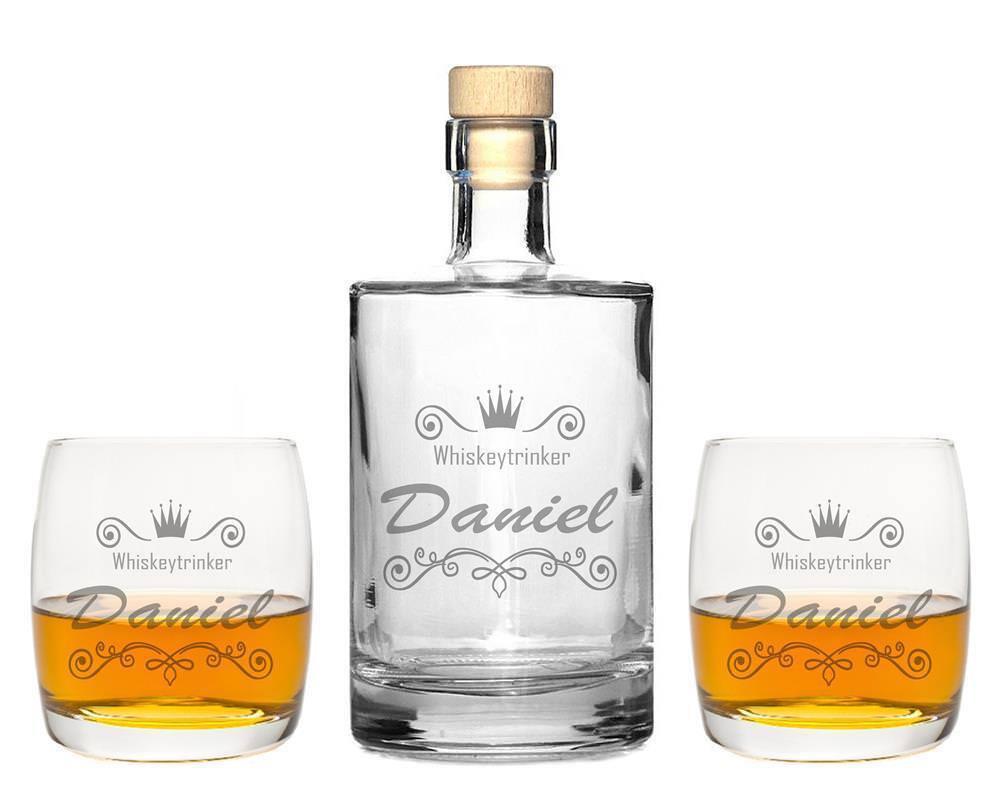 2 Whiskeygläser mit Karaffe und Gravur  Krone I  Whisky Glas graviert Geschenk   Nutzen Sie Materialien voll aus