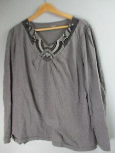 St-John-039-s-Bay-Women-039-s-Size-1X-100-Cotton-Solid-Gray-Long-Sleeve-V-Neck-Blouse