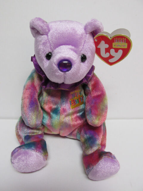 abc0d7ca8a3 Amethyst February Birthday Birthstone 2001 Ty Beanie Babie 7.5in ...