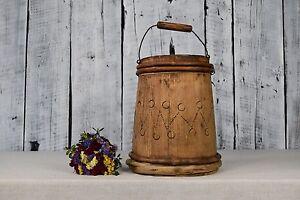 Antique wooden bucket / Rustic bucket with handle / Primitives wooden bowl