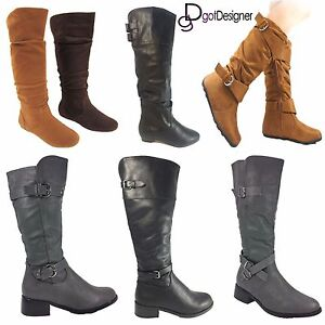 NEW-Womens-Shoes-Knee-High-Mid-Calf-Slouch-Boots-Comfort-Round-Toe-Casual-Flat