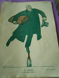 M-Monis-ou-champagnol-malgre-lui-en-equilibre-dessin-A-Barrere-Print-Art-deco