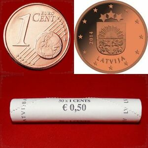 LATVIA LETTONIE LETTLAND LETONIA 2014 EURO COINS 50pc X 1 cent BANK ROLL UNC