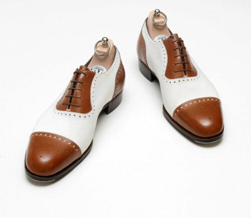 Oxford Two Tone Brown White Brogue Rounded Cap Toe Genuine Leather Laceup Shoes