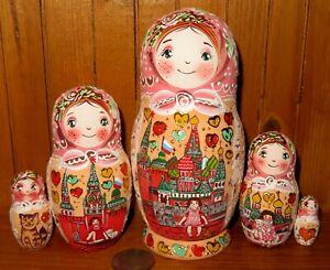 Matryoshka-Girls-amp-Moscow-Kremlin-Nesting-Dolls-Russian-MATT-5-Hand-Painted-GIFT