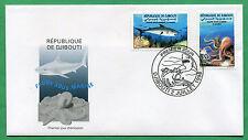 Djibouti 1998 Mi. 665-666 Faune Sous-Marine Pieuvre Requin FDC Premier Jour Rare