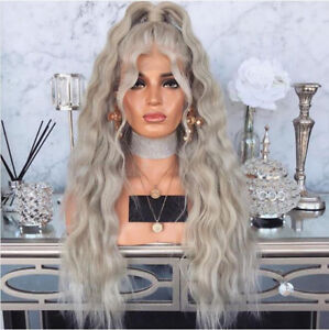 Brazilian 100 Real Human Hair Wig Light Grey Wavy Remy