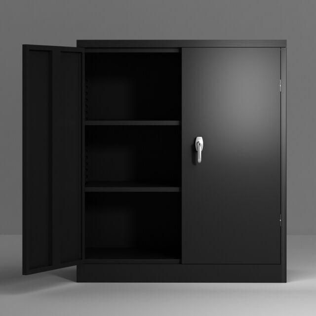 Tall Locking Storage Cabinet With Doors Black Garage Tool Organizer Shelves For Sale Online Ebay