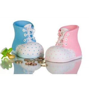 Spardose Babyschuh Keramik blau Foto links Geschenk zur Geburt Deko NEU