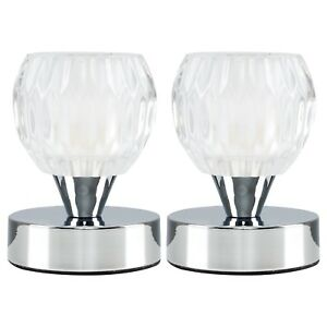 Pair Of Modern Chrome Glass Small Round Touch Bedside Table Lamp
