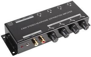 headphone amplifier 4 way stereo distribution amp ebay. Black Bedroom Furniture Sets. Home Design Ideas