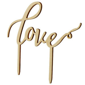 LOVE-Wooden-Cake-Topper-Sticks-Wedding-Cake-Decoration-Photo-Birthday-party-AU
