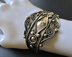 Vintage Mexico Sterling Silver Ornate Design Cuff Bracelet