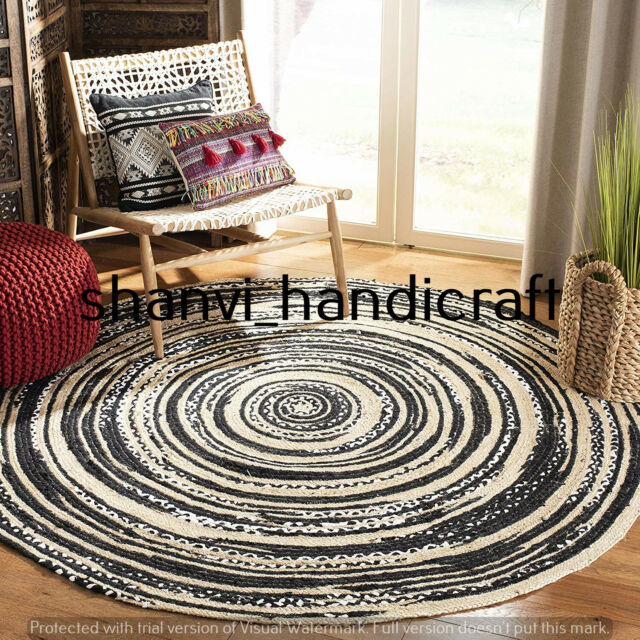 Reversible Round Braided Jute Natural & Multi Colour Cotton Rug Floor Decor Rags