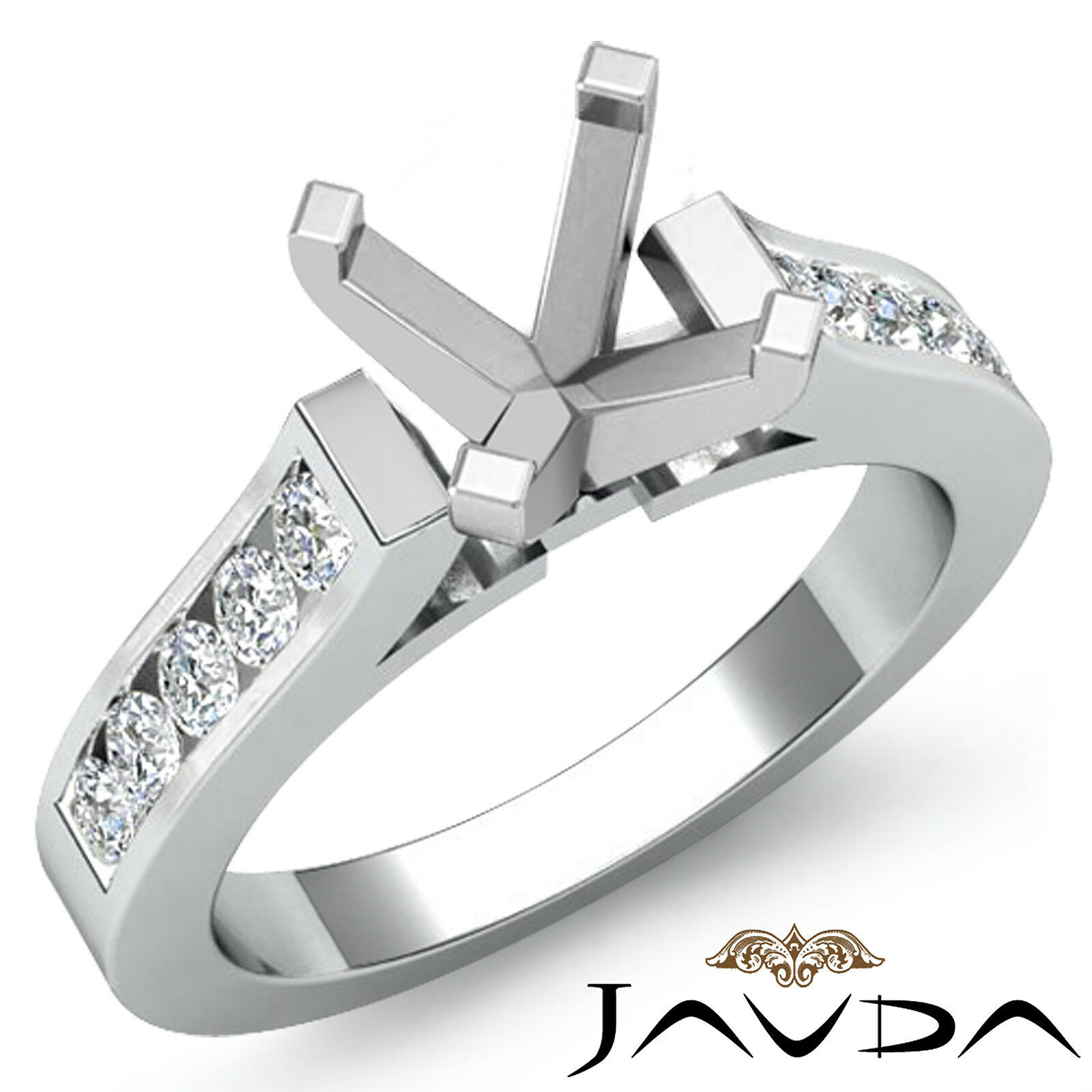 Round Channel Set Diamond Wedding Ring 14k White gold Round Semi Mount 0.3Ct