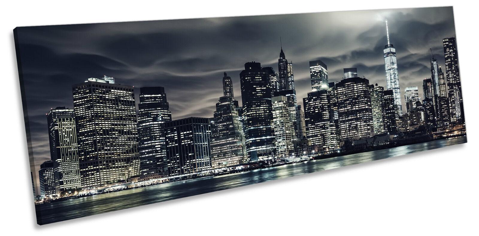New York City Skyline Manhattan CANVAS WALL ART ART ART Panoramic Framed Print d88b2b