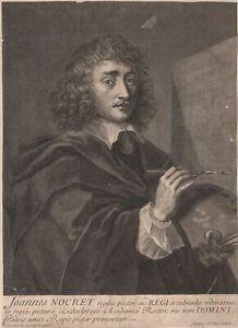 Suzanne-Silvestre-Portrait-du-Peintre-Jean-Nocret-Gravure-originale-XVIIIe