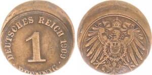 Empire 1 Pfennig 1909, 15% Dezentriert Lack Coinage, VF