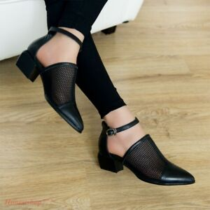 Chic Womens Ankle Strap Chunky Low Heels Pointed Toe Shoes Mesh ... 1adf458a1