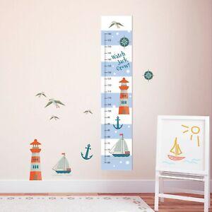 Boys Sailor Ship Nautical Measuring Height Growth Chart 8 Vinyl Wall Stickers Ebay