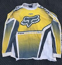 Vintage Fox Flow Motocross MX Jersey size Large Yellow/Black- USED