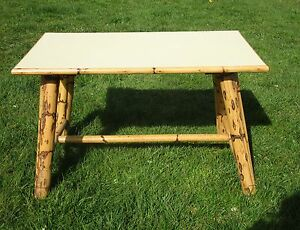 Vintage-Large-Coffee-Side-Occasional-Table-Bamboo-Legs-Light-Yellow-Top