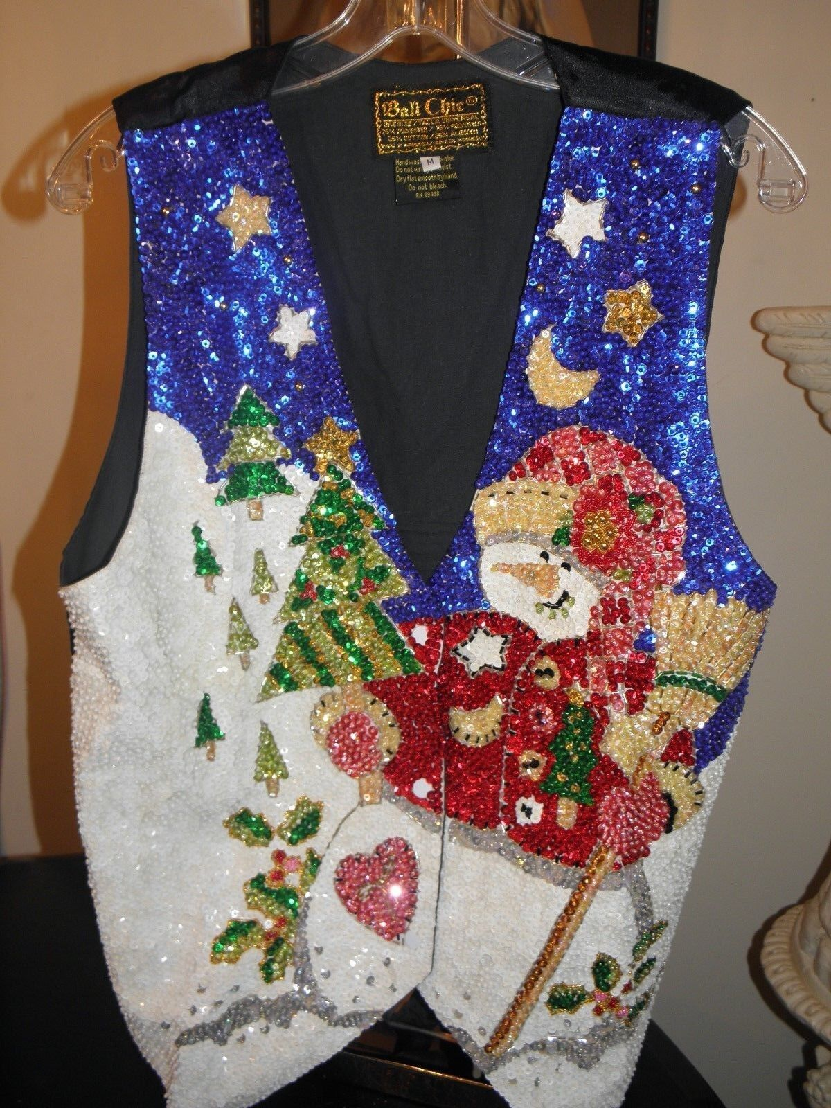 ADORABLE GLITTERING SEQUIN SNOWMAN VEST WEAR ALL WINTER NICE CHRISTMAS GIFT S