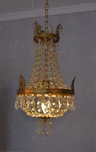 Lustre-en-Cristal-Couvercle-Panier-Laiton-Verre-Antique-Baroque-Empire