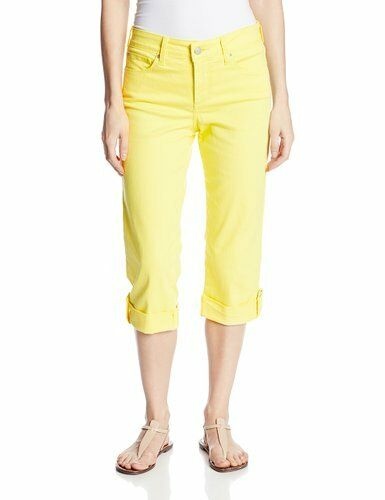 New NYDJ Not Your Daughters Jeans Lyris yellow crop capri pant sz 6P 8P 12P 16P
