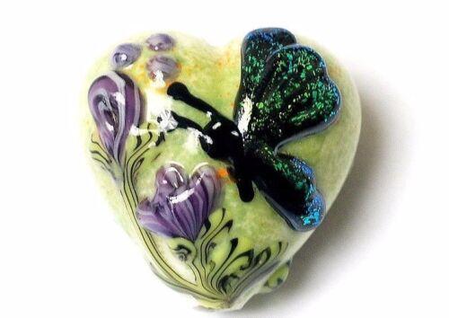 GL00 Premium lampwork artiste Heart Bead Papillon Vert 18x12mm UK boutique  *