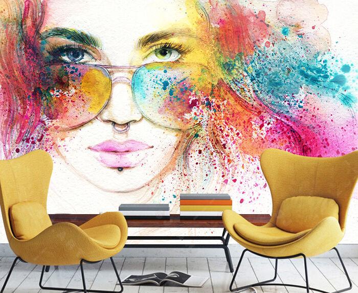 3D Farbe Mädchen 374 Fototapeten Wandbild Bild Tapete Familie Kinder