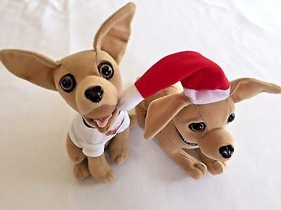 Lot 2 Taco Bell Dog Plush Yo Quiero Chihuahua Talking Toy Advertising Fast Food