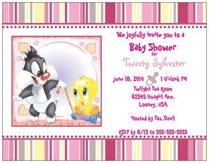 Custom BABY Tweety Bird Sylvester Girl SHOWER INVITATIONS Flat