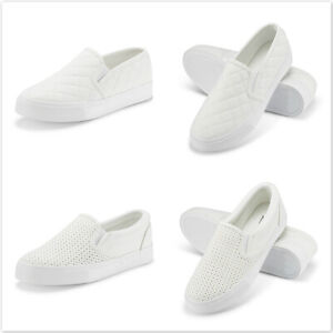 Women-039-s-White-Fashion-Sneakers-Classic-amp-Perforated-Slip-On-Flats-Walking-Shoes