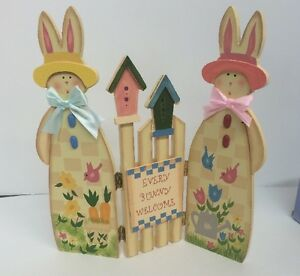 """Wood Easter Decoration """"every Bunny Welcome"""" Home Decor NIB 9.5"""" X10"""""""