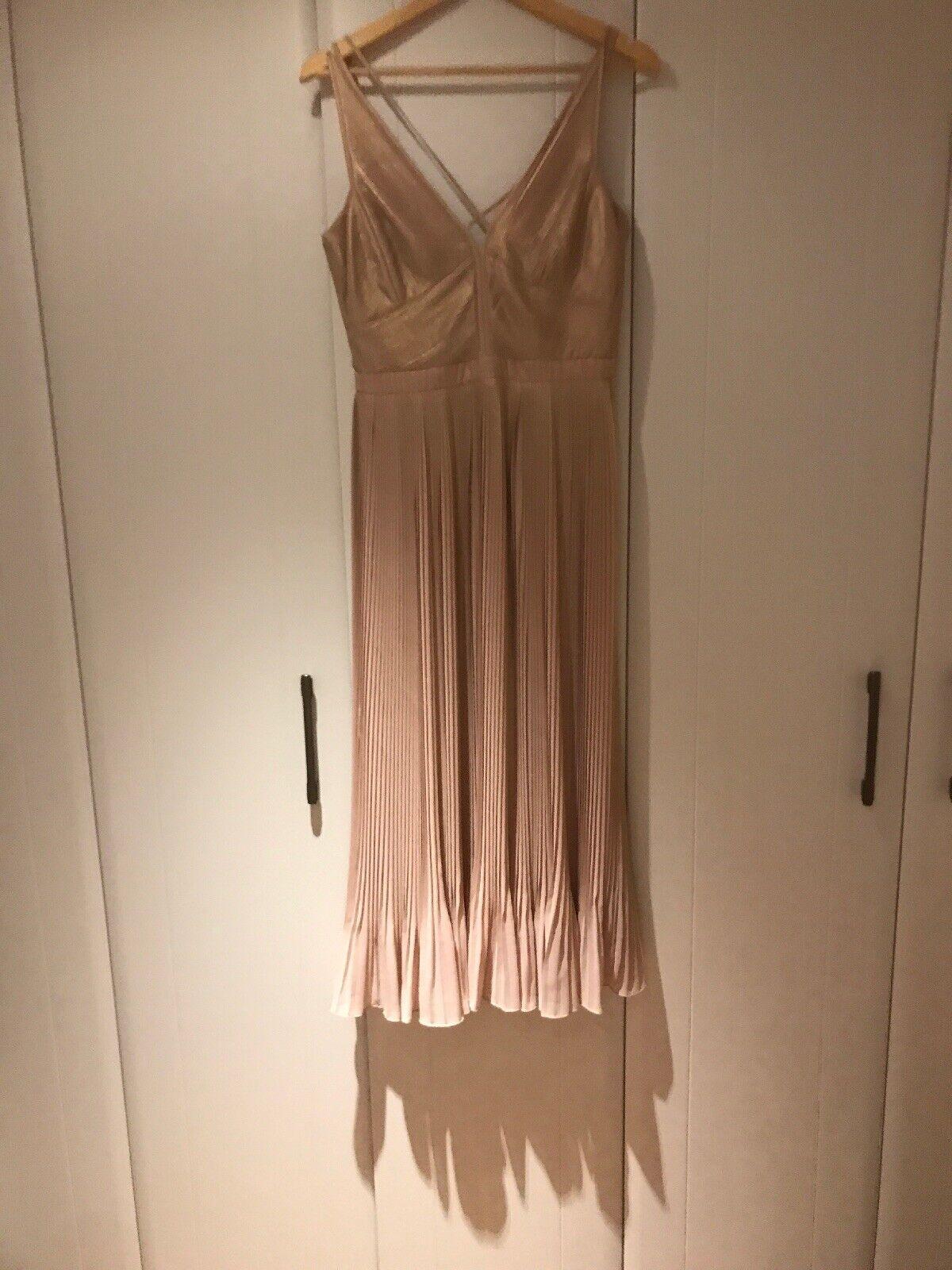 Karen Millen pink gold Shimmer Dress Size 10 Bnwot Bnwot Bnwot de0c2e