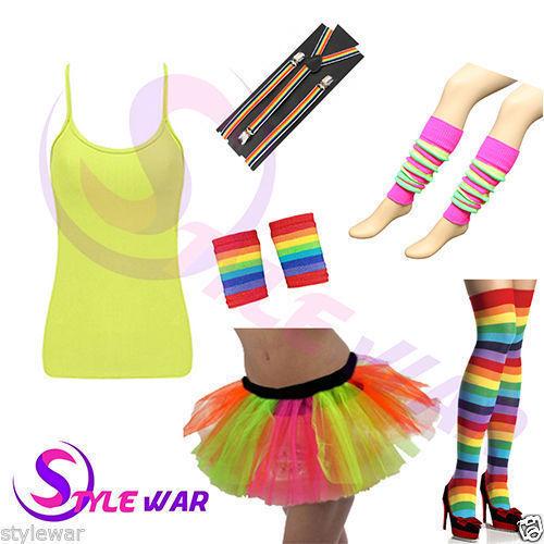 New Adult Clown Multi Rainbow Fancy Dress Hen Gay Pride Stag Party Hat Wig Tie