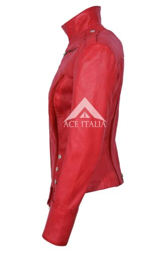 Fit da Slim da scamosciata in in genuina 4520 donna Red donna scamosciata pelle pelle modello rossa Giacca zq8w1fdfx