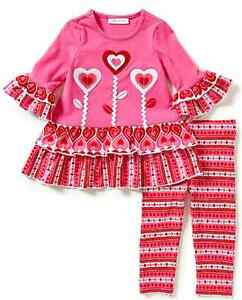 6f3e800ec8b78 Bonnie Jean Girls Valentines Day 3 Flower Heart Dress Leggings 2T 3T ...