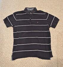 Tommy Hilfiger Polo Shirt Medium M Dark Blue White Stripes