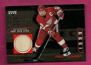 102757a3165 RARE 1998-99 UD GOLD   SY RED WINGS STEVE YZERMAN GAME USED HOCKEY ...