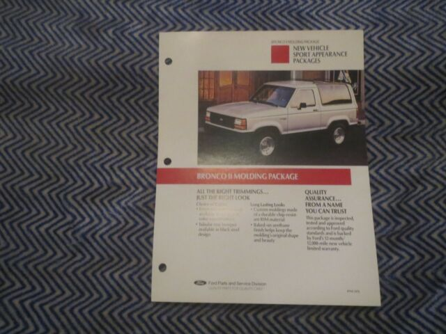 1990 FORD BRONCO II MOLDING PACKAGE DEALER ALBUM BROCHURE ...