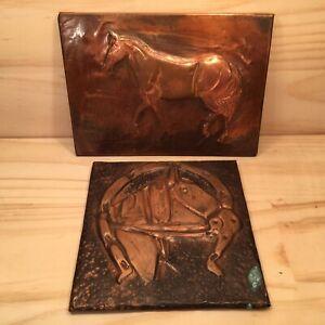 2pc-HORSES-Embossed-Copper-Folkart-Metal-Craft-Plaques-Decorative-Pictures