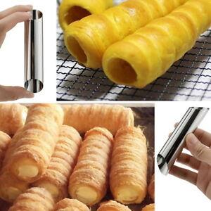 1x-Acier-Inoxydable-Corne-Cuit-Au-four-Pipe-Croissants-Cone-Spirale-Gateau-Moule