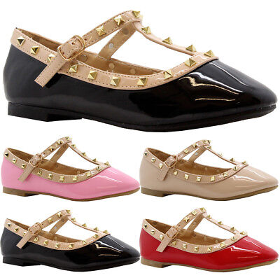 SAUTE STYLES Girls Kid Party Flat Studded Pointed Toe T-BAR Buckle Ballerina Pumps Shoes Size